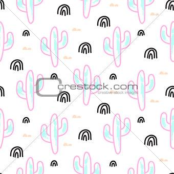 Cactus plant neon vector seamless pattern. Abstract cartoon desert fabric print.