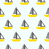 Sailing ship seamless kid vector pattern in scandinavian style.