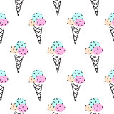 Ice cream cone vector seamless pattern. Pop art pink and black.