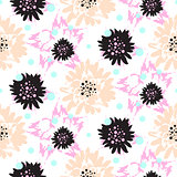 Bold brush strokes floral seamless pattern.