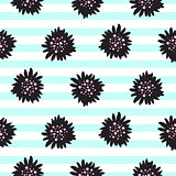 Striped black bold florals seamless pattern.