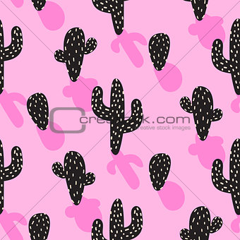 Cactus plant vector pink seamless pattern. Abstract cartoon desert fabric print.