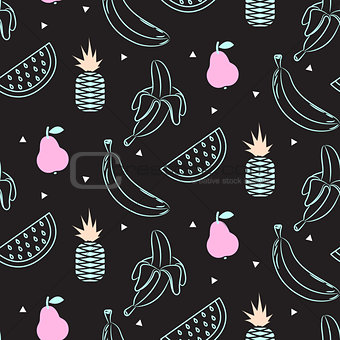 Sketch line fruit salad seamless black pattern.