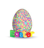 Easter greeting concept. Eggs with geometric pattern and 3d letters. Vector illustration
