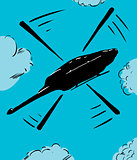 Helicopter in flight cartoon