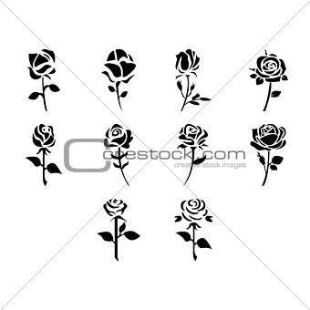 Flat black rose icon set