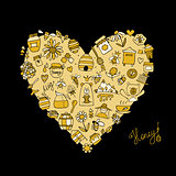 Honey apiary icons, heart shape. Sketch for your design