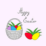 happy easter with basket and easter eggs