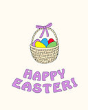 happy easter with easter eggs in the basket