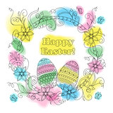 colorful easter card with patterned eggs, floral frame and butte