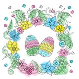 colorful easter card with patterned eggs and floral frame