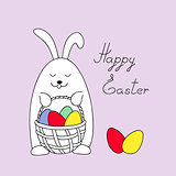 funny easter bunny keeping a basket with eggs