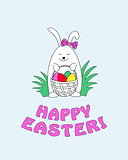 happy easter with funny bunny