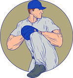 American Baseball Pitcher Throw Ball Circle Drawing