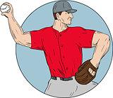 American Baseball Pitcher Throwing Ball Circle Drawing