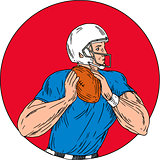 American Football Quarterback Ready Throw Ball Circle Drawing