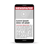 Newspaper on screen smartphone