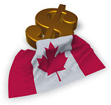 dollar symbol and canada flag - 3d illustration