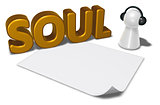 soul tag, blank white paper sheet and pawn with headphones