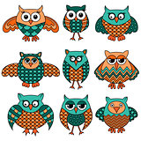 Nine cartoon funny owls