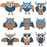 Set of nine cartoon funny owlsv