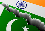 Flag Pakistan India Deep Crack