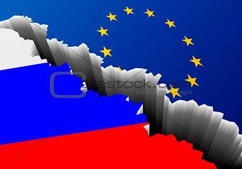 Flag Russia Europe Deep Crack