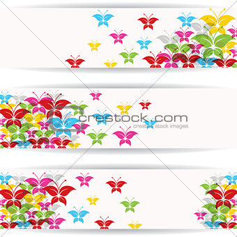 Abstract colorful butterfly design with copy-space
