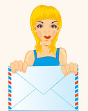 Girl with envelope