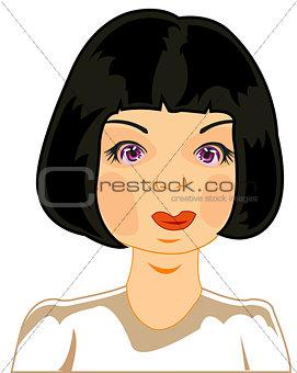 Portrait of the girl of the brunette