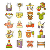 ector set of flat design cute colorful baby icon.