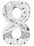 Number eight Zentangle. Vector decorative object