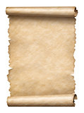 Old paper manusript scroll isolated on white vertically oriented