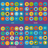 Multimedia, information, social and web icon set