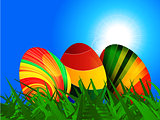 Colourful striped Easter eggs background