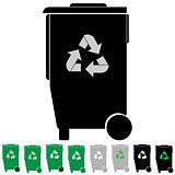 Black and green refuse bin or debris utilization.
