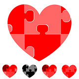 Heart and hearts with red grey black puzzles.