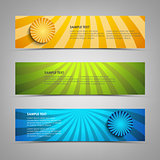 Collection banners with colorful abstract circular stripes