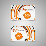 Gift voucher with abstract orange circles
