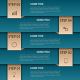 Info graphic with blue stripes and bookmarks template