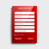 Register web screen with red button template