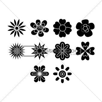 Flat black flowers icon set