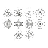 Thin line flowers icon set
