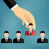 Businessman choosing worker.
