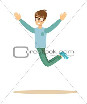 casual man jumping and smiling