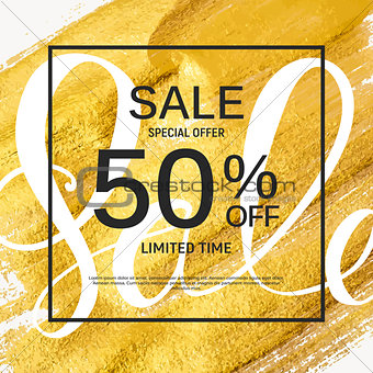Abstract Designs Sale Banner Template with Frame. Vector Illustr
