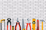 Repair Tools and Instruments on Brick Wall Vector Illustration B