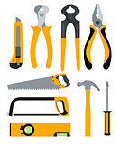Set of Isolated Icons Building Tools for Repair. Pliers, nippers