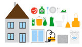 House Cleaning Tools Icon Set on Modern Flat Style. Vector Illus