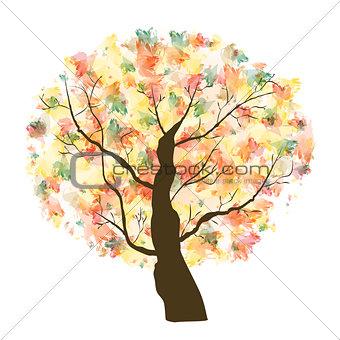 Autumn Paint Textured Art Tree. Vector Illustration